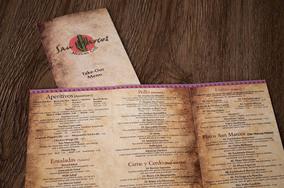 San Marcos Mexican Grill Takeout Restaurant Menu Design